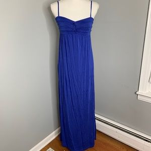Nicole Miller Blue Knotted Front Maxi Dress Sz M